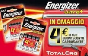 Energizer regala buono sconto 4 euro TotalErg